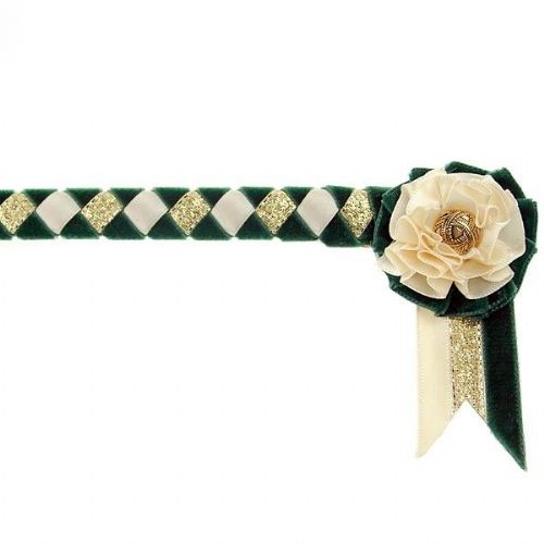 ShowQuest Newport Pony Browband in Bottle/Cream/Gold